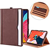 I4UCase Apple iPad Pro 11 Inch Case 2018 – Soft Leather Stand Folio Magnetic Flip Auto Sleep/Wake Protective Smart Cover Case | Built-in Wallet Card Holder w/Pencil Stylus Holder (Brown)