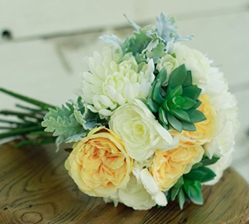 Silk Succulent Wedding Bouquet Yellow Rose Succulents White Ranunculus And Sage