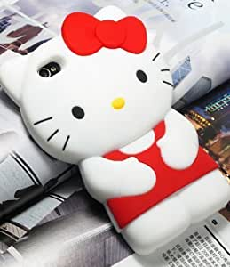 3D Hello Kitty Cute Soft Silicone Back Skin Case Cover for Apple iPhone 6 4.7 4G Red