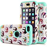 iPod Touch 6 Case,iPod Touch 5 Case, MOOST 3 in 1 Slim Hybrid Elephant Pattern Case Cover for Apple iPod Touch 5 6th Gen (Elephant / Mint Green)