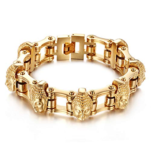 - Family History Creative Buddha Head Bracelet, Men Gold Transport Bicycle Chain Bracelet Stainless Steel Metal Accessories,Gold