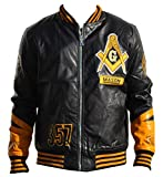 Masons ''Look to the East'' Men's PU Leather Jacket Extra Large Black/Gold