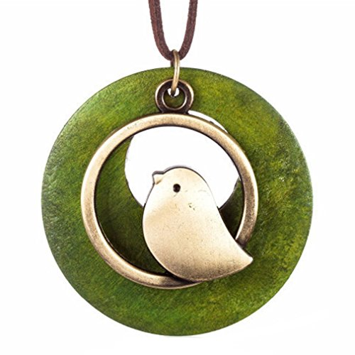 Meolin Bird Wooden Bead Pendant Vintage Long Necklace For (Vintage Wooden Bead)