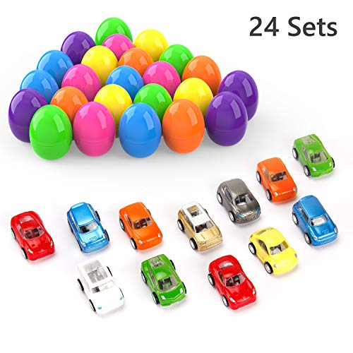 Cars Easter Eggs (Theefun 24 Pcs Easter Eggs Filled with Popular Mini Toy Cars Pull back)