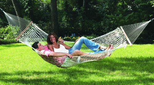 "Texsport Seaview Rope Double Hammock - Overall Size: 120"" x 57"" , Bed Size: 82"" x 56"", Weight Limit: 500 Lbs Extra wide double size, cool comfortable larger diameter heavy-duty cotton ropes, and French braided edges for strength Hardwood spreader bars and sturdy welded suspension rings - patio-furniture, patio, hammocks - 51dYRwDHzpL -"