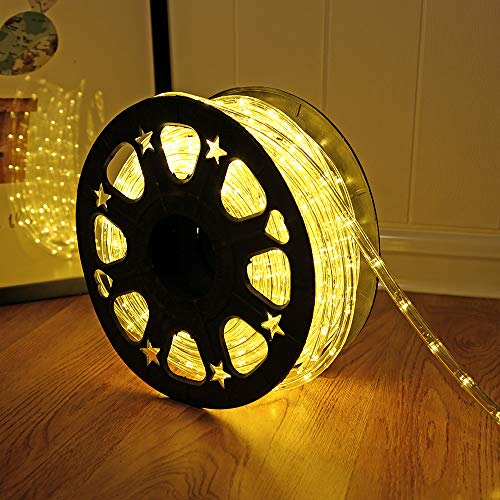 50ft 360 LED Waterproof Rope Lights,110V Connectable Indoor Outdoor Led Rope Lights for Deck, Patio, Pool, Camping, Bedroom Decor, Landscape Lighting and More (Warm White)