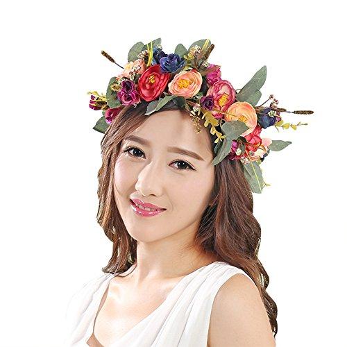 Bueer Flower Wreath Headband Crown Floral Garland Boho for Festival Wedding (Orange & Pink)