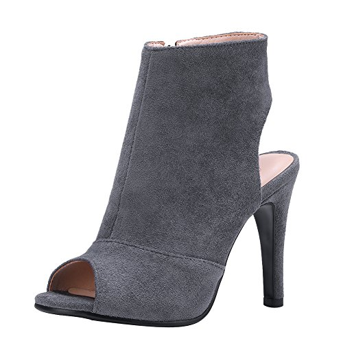 Heel Toe Boots Ankle Latasa Womens Spring Peep Summer High Grey nPS14qSC