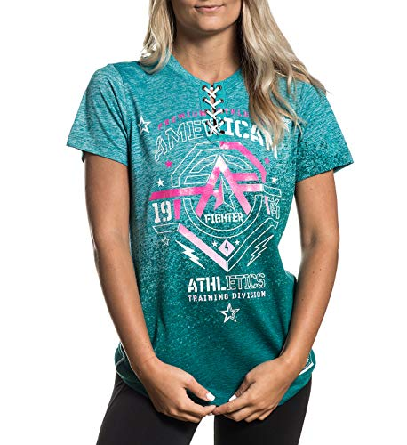 - American Fighter Women's New Mexico Tie Up Graphic T-Shirt-Medium Crystal Blue