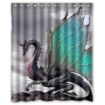 Creative Design Ancient Dragon Pattern Waterproof Bathroom Fabric Shower CurtainBathroom Decor 60quot X