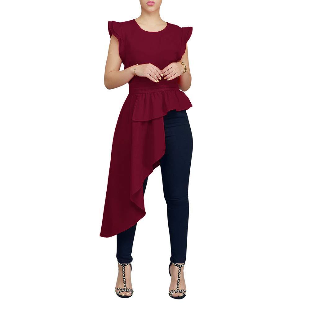 Salimdy Womens Ruffle High Low Tops - Irregular Short Sleeve Blouse Shirt Wine Red Large