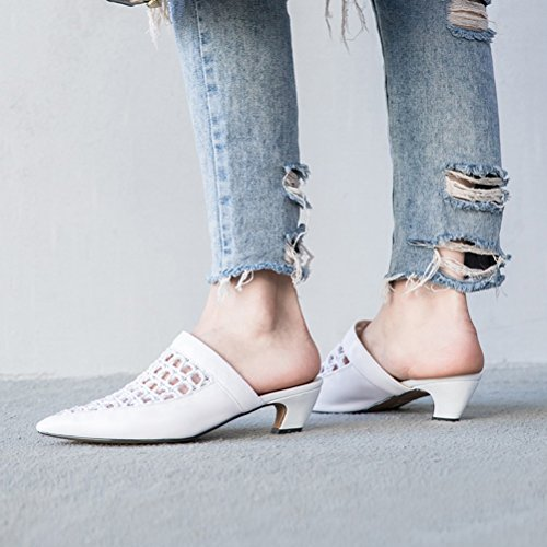 A Size Dress Out Office Leather amp; Career Color amp; Heel 2018 Summer Block Women's for 36 Party Fashion Evening Breathable Hollow Sandals Slippers wxY7nRqa1