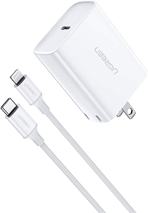 UGREEN USB C Charger 18W with Lightning Cable to USB C PD iPhone Charger [3FT MFi Certified] Fast Charging for iPhone 12 Pro SE 11 Pro Max Xs Max XR X 8 Plus, iPad, AirPods
