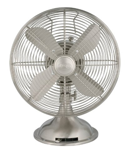 Hunter 90400 12″ Metal Fan, Brushed Nickel Finish (Table Fan, Portable Fan) 51dYShuWNwL