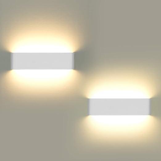 Luces de pared para interiores, 2 piezas LED Aplique de pared Luces arriba y abajo Lámpara de pared moderna para sala de estar Balcón Escalera Porche Tienda, Luz blanca cálida: Amazon.es: Iluminación
