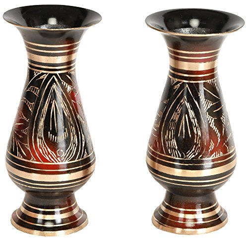 Decorated Vase Pair - Brass -