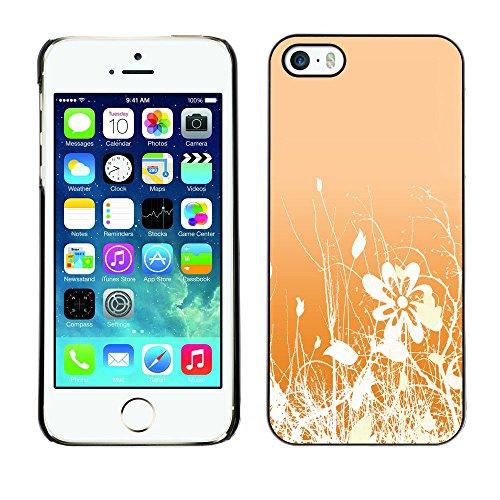 LASTONE PHONE CASE / Coque Housse Etui Shock-Absorption Bumper et Anti-Scratch Effacer Case Cover pour Apple Iphone 5 / 5S / Floral Pattern Orange White Flowers Field