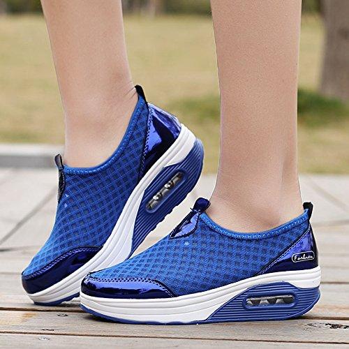Enllerviid Femmes Slip-on Forme Athlétique Chaussures De Fitness Poids Léger Plateforme Mode Sneakers 7763 Bleu