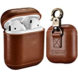AirPods Leather Case with Strap, ICARER Genuine Leather Portable Protective Shockproof Cover for Apple AirPods Charging Case (Brown)