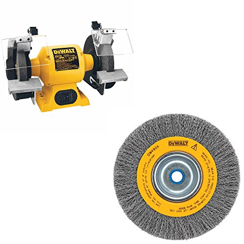 DeWalt DW758 HD 8 inch Bench Grinder & DeWalt DW4906 8 inch Crimped Bench Wire Wheel