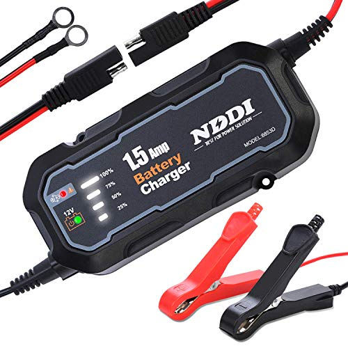 Automatic Battery Trickle Charger Maintainer 12V 1500mA Smart Float Battery Charger with LED Charging State Lights for Car Boat Lawn Mower