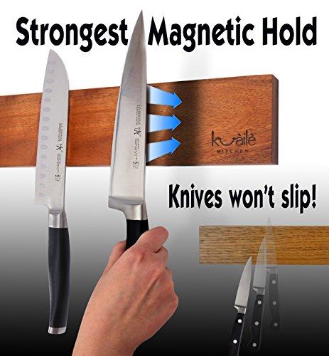 Heavy Duty Knife Holder - Magnetic Knife Bar - Knife Storage Strip 18'' (Bamboo Wood, 16 Inch) by Kuaile Kitchen (Image #1)