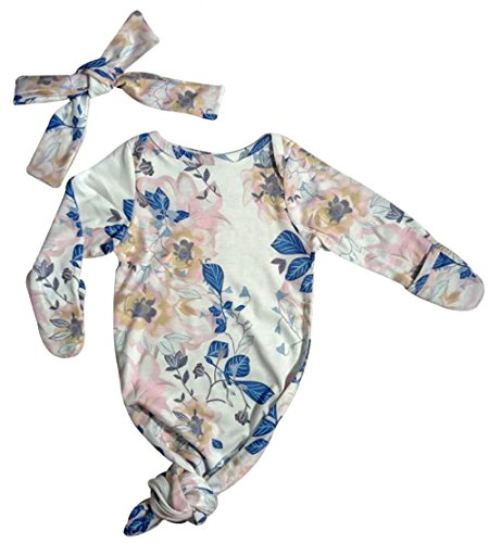 UNIQUEONE Newborn Baby Printing Gown Outfit Soft Cotton Long Sleeve Sleep Bag with Hat Size 0-3Months (Floral)