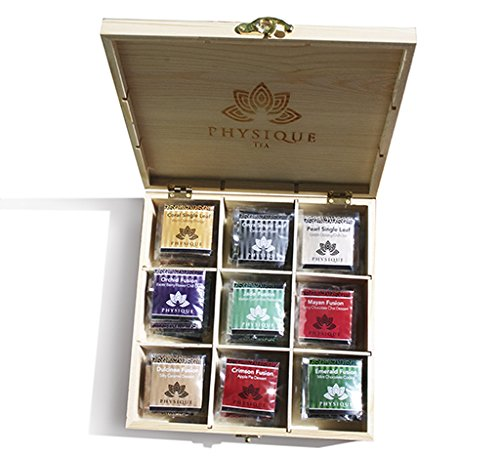 Physique Tea Japanese Oolong, Slimming, and Dessert Gift Wooden Chest Variety- 45 Sachets, Aids Weight Loss Detox and Appetite Control