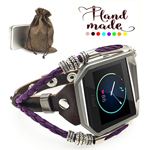 Marval.P Compatible with Fitbit Blaze Bands, Handmade Leather DIY Band, Replacement Bracelet Strap, Wristbands with Adjustable Size, Fashion Wrist Band Straps