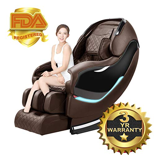 SL-Track Massage Chair Recliner, Zero Gravity Electric Full Body Shiatsu with Tapping, Heating, Stretching Back and Foot Massagers Space Capsule (Brown)