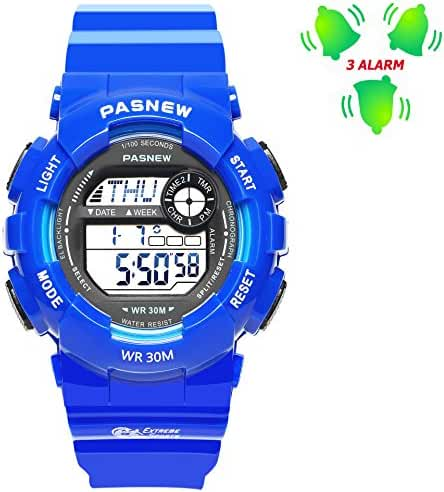 3 Multiple Alarms Kids Watches, Outdoors Swimming Timer Sports Digital Watch for Boy Girl Childrens Blue (Wrist Size 4.7