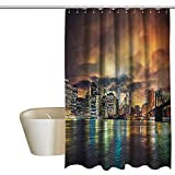 Denruny Shower Curtains for Bathroom Blue City,Fantasy Sky NYC Sunset,W48 x L84,Shower Curtain for Men
