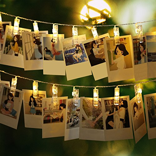 Binval Photo Clip String Lights,Hang Pictures,Artwork,Card Memos,Painting For Bedroom ,Dorm, Kids Room Christmas Party Starry Lights, Battery Powered,30LED (Warm White,2-Pack) by Binval
