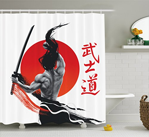 Ambesonne Japanese Decor Collection, Samurai at Practice with Muscles and Katana Japanese Sun Asian Discipline Image , Polyester Fabric Bathroom Shower Curtain Set with Hooks, Red Black White