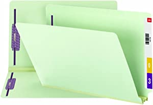 "Smead End Tab Pressboard Fastener File Folder with SafeSHIELD Fasteners, 2 Fasteners, 2"" Expansion, Legal Size, Gray/Green, 25 per Box (37715)"