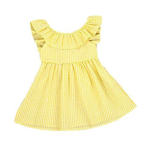 G-real Plaid Dress, Toddler Girls Kids Summer Ruffle Backless Dress Yellow Lattice A-Line Princess Dress