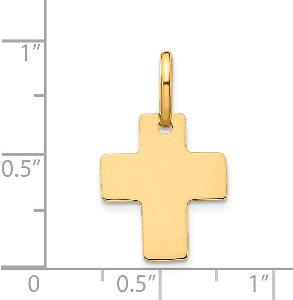 FB Jewels Solid 14K Yellow Gold Polished Cross Charm