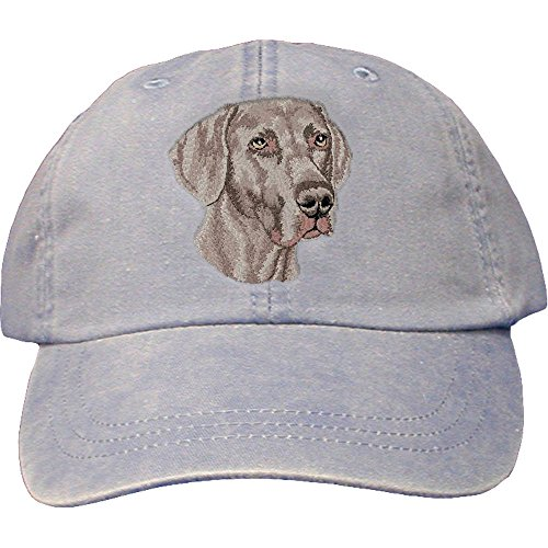 Cherrybrook Dog Breed Embroidered Adams Cotton Twill Caps - Periwinkle - Weimaraner - Leather Dog Cap