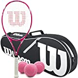 Wilson Triumph Pre-Strung Pink/White Tennis Racquet Set or Kit Bundled with an Advantage 2-Pack Tennis Racket Bag and a Can of Tennis Balls