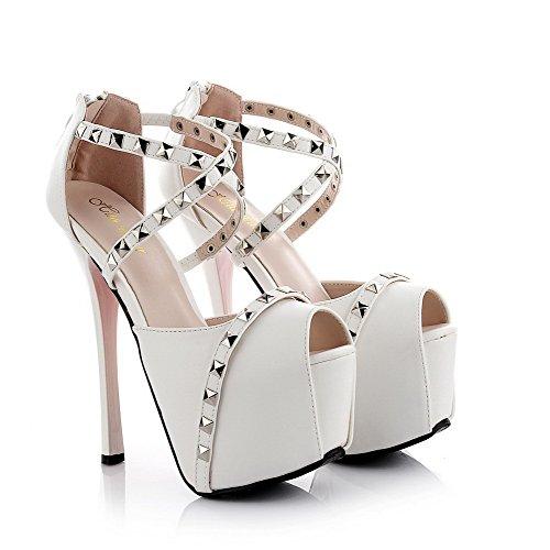 White Heels Material Frauen Sandals AllhqFashion weiches High Peep Solider Reißverschluss Toe vS7nqF