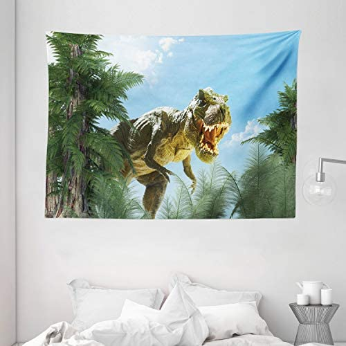 Ambesonne Fantasy Tapestry, Giant Dinosaur in Forest Jurassic Monster Fossil Creature Digital Design, Wide Wall Hanging for Bedroom Living Room Dorm, 80 X 60 , Fern Green