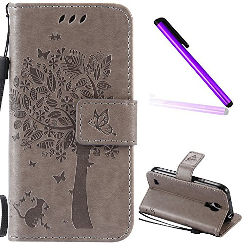 Samsung Galaxy S4 Mini Cover Case EMAXELER Stylish Diamond Embossed Kickstand Credit Cards Slot Cash Pockets PU Leather Flip Wallet Case For Samsung S4 Mini I9190 Wish Tree Gray (Samsung Galaxy S4 Mini Phone Case)