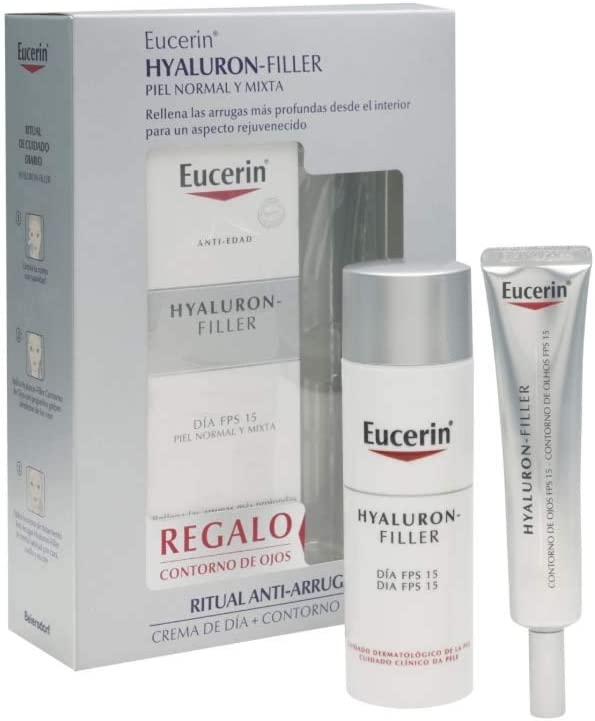 Eucerin Hyaluron Filler Anti Edad - Pack de Crema de Día FPS 15 y Contorno de ojos, 50 + 15 ml: Amazon.es: Belleza