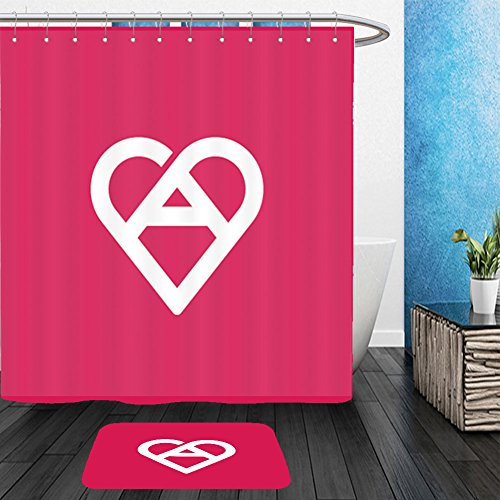 Vanfan Bathroom 2Suits 1 Shower Curtains & 1 Floor Mats letter a heart logo icon design template elements 372064528 From Bath room