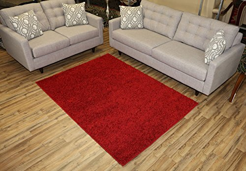 RugStylesOnline, Shaggy Collection Shag Area Rugs, 5'x7' - Dark Red (Red Area Rugs Shag)