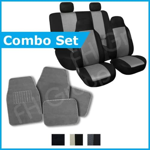 FH Group FH-FB102114 + C14403 Combo Set: Grey Classic Cloth Seat Covers and Black Carpet Floor Mats- Fit Most Car, Truck, SUV, or Van