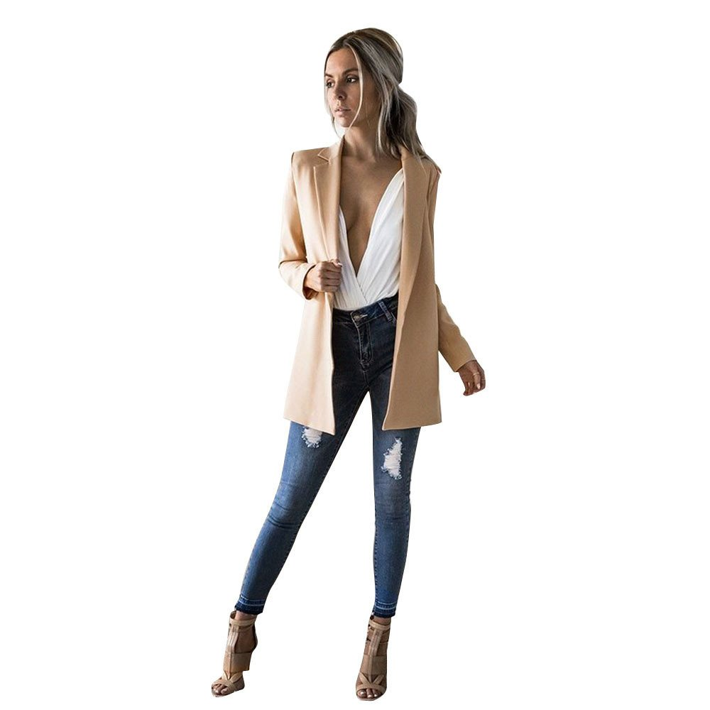 Rambling Women's Cuffed Sleeve Boyfriend Blazer, Ladies Long Sleeve Cardigan Casual Blazer Suit Jacket Coat Outwear