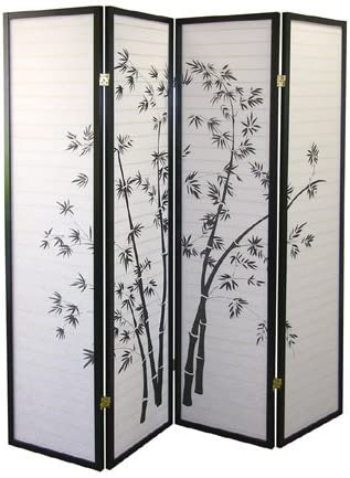 FurnitureMaxx 4 Panel Black Oriental Shoji Screen Room Divider with Bamboo Print