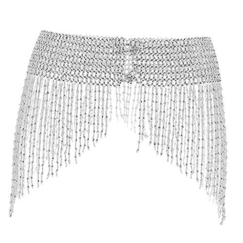 - Jili Online Women Girls Triangle Belt Hip Scarf Skirt Wrap Bead Tassel Dancing Belly Dance Waistband Costume Prop - Sliver, as described