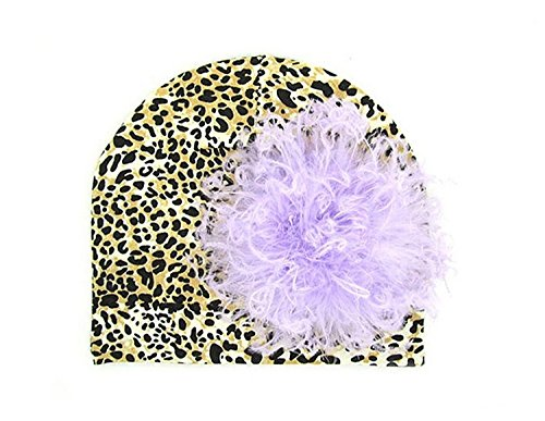 (Leopard Print Hat with Lavender Large Curly Marabou, Size: 4-6y)